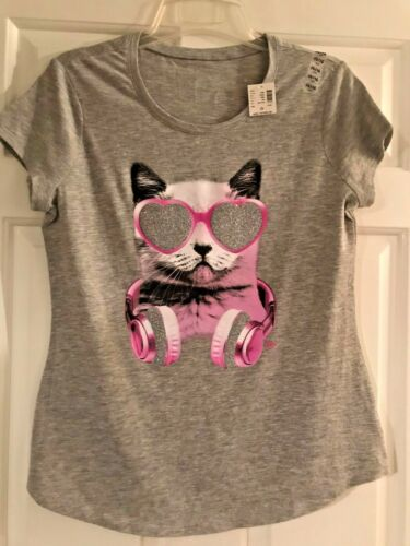 NWT Girls Justice Gray Short Sleeve Top with a Cat w//Headphones