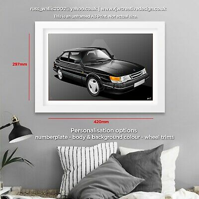 SAAB 900 GRAPHIC CAR ART PRINT PICTURE PERSONALISE IT! SIZE A4