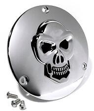 3D Skull Kupplungsdeckel für Harley 70-99 Evo Shovel Totenkopf Chrom Derbycover
