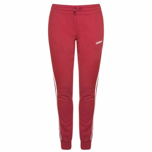 adidas Essential 3 Stripe Joggers Womens Maroon Jogging Pants Ladies Jog Bottoms