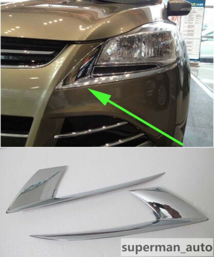 ABS Chrome Front Headlight Lamp Eyelid Cover For Ford Kuga Escape 2013-2016