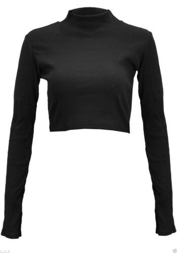 Damen gerippt Baumwolle Polo Rollkragen bauchfreies Top langärmlig Shorts
