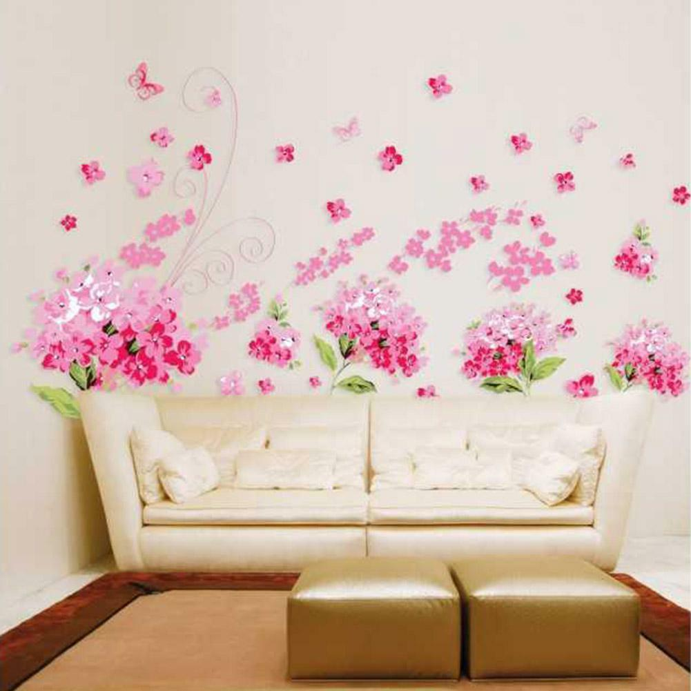 US STOCK Removable Wall Sticker Rose Vine Pink Decal Mural Living Room Bed Room