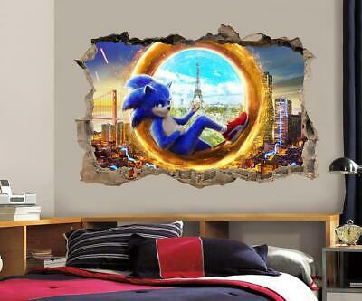 Sonic The Hedgehog Movie 3d Smashed Wall Sticker Decal Decor Art Mural J1429 Ebay