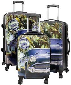 Reisekoffer Hartschalenkoffer Koffer Trolley Set Motiv Havanna Kuba Oldtimer