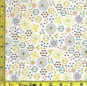 Science math atomic bots space white cotton fabric 1 4 for Space is not fabric