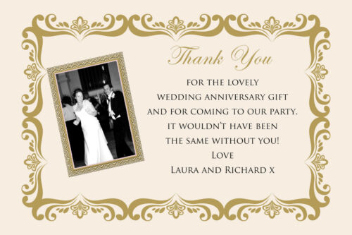 Personalised photo golden wedding anniversary party thank you cards inc envelope