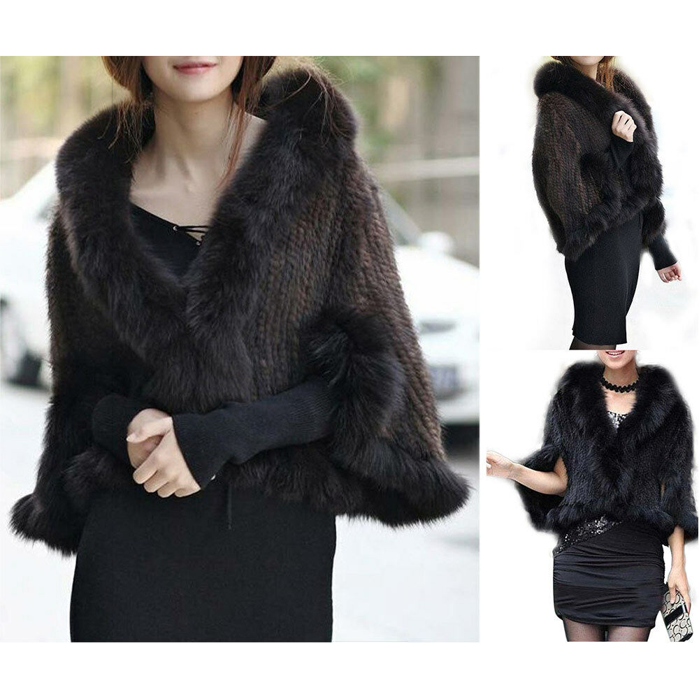 100% Real Natural Knitted Fur With Collar Cape Stole Shawl Scarves Coat 2colors