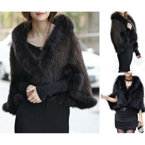 Scarves 2colors Collar With Natural Stole Real Shawl Coat Fur Cape 100 Knitted xzU1HqWg