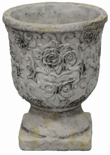 Keramiktopf mit Fuß grau Höhe 19 cm Blumentopf Pflanztopf Blumenschale