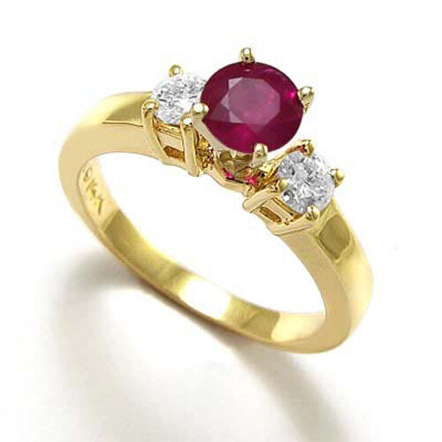 14k Solid Yellow Gold Ruby and Diamond Engagement Ring #R787
