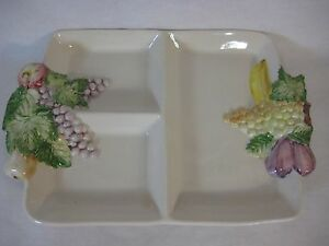 Vintage Hand Painted Fruits Portugal Ceramic 3 Part Serving Tray Platter