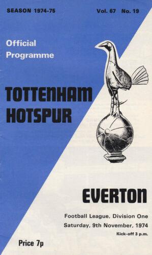 TOTTENHAM HOTSPUR HOME PROGRAMMES 1974-75 ~ YOU CHOOSE OPPONENTS POST FREE