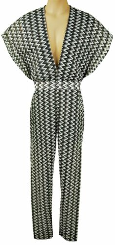 16 LB206 FOREVAYOUNG SIZE 12 GREY OR GREEN PLUNGE FRONT CROCHET JUMPSUIT 14
