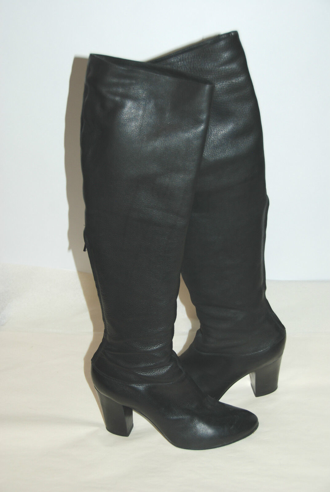SIGERSON MORRISON 10 KNEE HIGH BLACK ROUND TOE BOOTS SZ 7.5