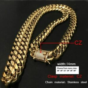 18K-Gold-GP-Stainless-Steel-Miami-Cuban-Link-Chain-Necklace-Diamond-Clasp-14mm