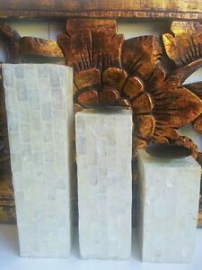 SET-3-MOTHER-OF-PEARL-SHELL-WHITE-TEA-LIGHT-CANDLE-HOLDERS-COLUMNS-BALI-BALINESE