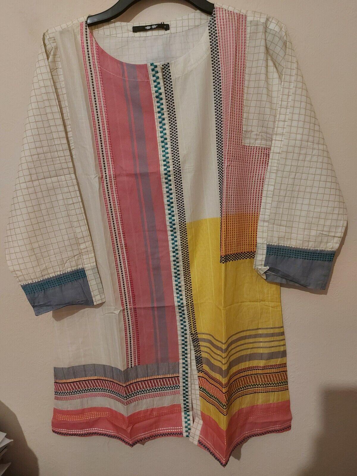 Khaadi Original Embroidered Off White Kurta and Trouser Size 12