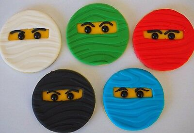 12 x NINJA Faces CUPCAKE TOPPERS Edible Sugar Birthday Cake Decorations |  eBay