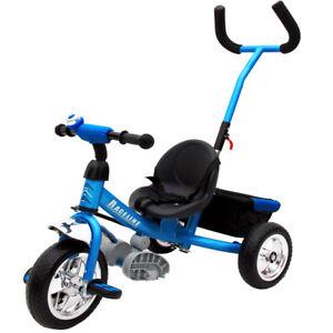 Tricycle pour enfant bleu avec barre à pousser Vélo 3 roues Tricycle Cyclisme