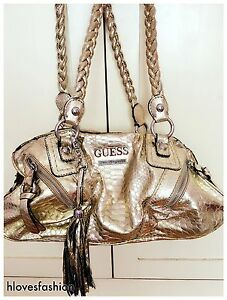 Details about ✨GUESS Los Angeles LARGE Gold Snake Metallic Tassel Shoulder Bag✨Paid £300✨FAST