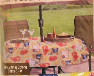 Crab Shack Vinyl Umbrella Tablecloth 60 Quot X 84 Quot Oblong