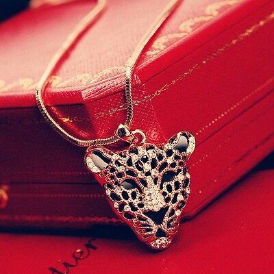 18K Rose Gold GP Made With Swarovski Crystal Large Leopard Head Long Necklace