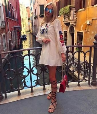 ZARA SILK FLORAL EMBROIDERED DRESS TUNIC FLOWING KLEID BLUMENSTICKEREI SEIDE