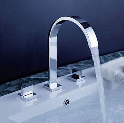 Bathroom Tub 3 PCS Shower Faucet Set Polished Chrome Taps Dual Levers Mixer Tap