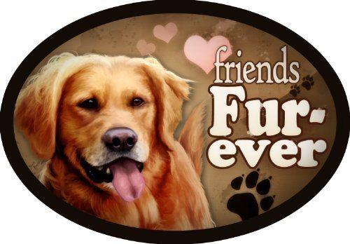 "/""Friends Fur-ever/"" Oval Dog Magnet for Cars and Fridges Golden Retriever"