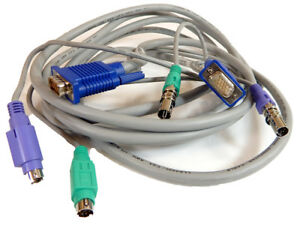 Lot of 2 AVOCENT CYBEX DELL HP 6FT PS2 VGA KVM SWITCH CABLES
