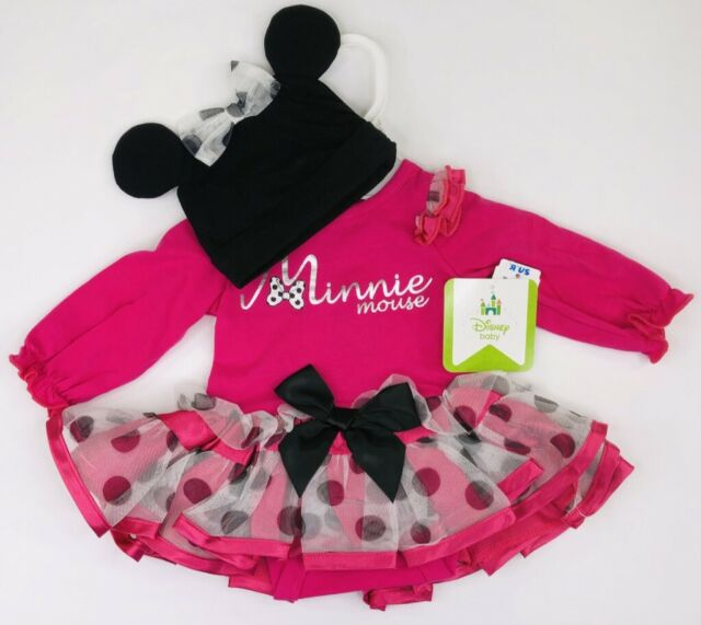 White Minnie Mouse Sparkle Baby Grow /& Pink Tutu Skirt Set Newborn