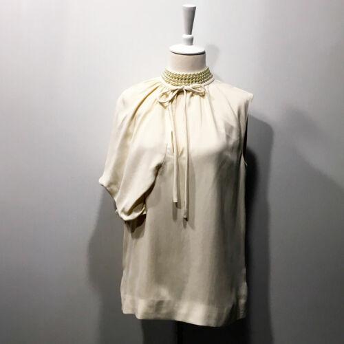 Balenciaga | $945 Ivory One-Shoulder  Pleated Drap