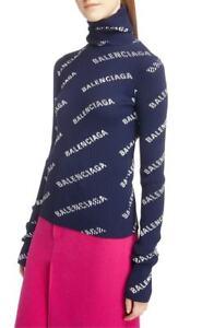 1390-Balenciaga-AUTH-NEW-Logo-Printed-Turtleneck-Hood-Top-Ribbed-Sweater-M-Navy