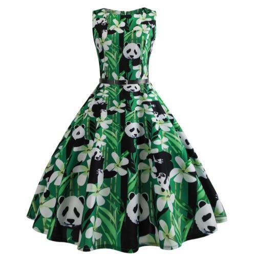 Woman Vintage Flare Panda Dress Ladies Fashionable Retro Sleeveless Outfits
