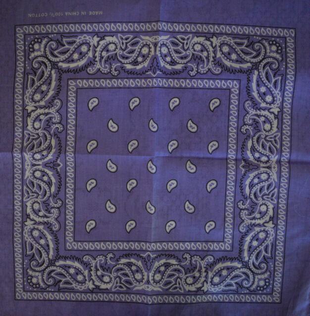 2x  100% Cotton 'PURPLE Paisley' BANDANA Free Postage (55cm x 55cm) PACK OF 2