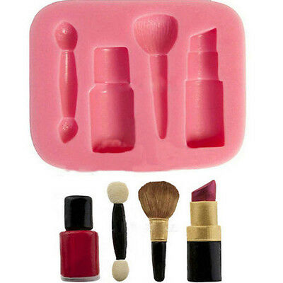New Lipstick Makeup Brush Silicone Mould Cupcake Toppers Decorating Cake Craft