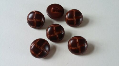 10 x BROWN FOOTBALL LEATHER LOOK PLASTIC BUTTONS 15mm or 18mm Shank Back