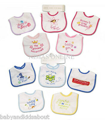 Pack of 5 BABY BIBS with Waterproof Backs