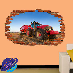 TRACTOR FARM MACHINERY FIELD 3D SMASHED WALL STICKER ROOM DECOR DECAL MURAL YI5