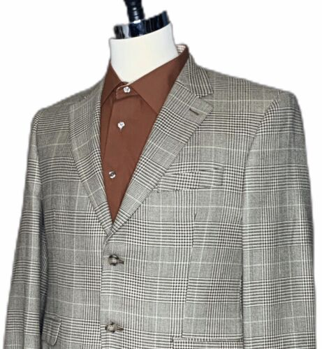 RALPH LAUREN mens BEIGE & BROWN WOOL/SILK DOGTOOTH