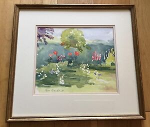 Contemporary-Modern-Watercolour-Painting-My-Garden-Dated-96-Agnes-Bantock