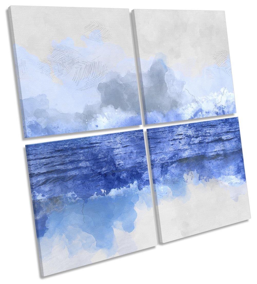 Blau Ocean Seascape MULTI CANVAS WALL ARTWORK Square Art