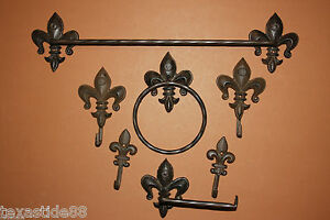 Image Is Loading 7 Pcs Fleur De Lis Bath Accessory Set