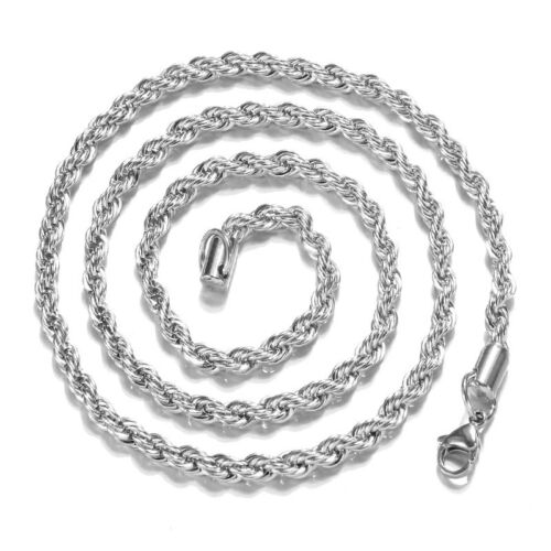 Silver Plated 2//3//4mm Twist Rope Beautiful Necklace 16-30 Inches UK