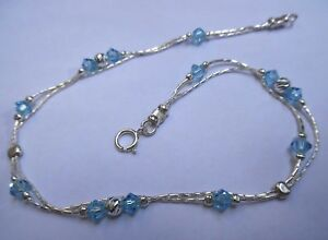 8f3757763 Image is loading AN024-Jewelry-925-Sterling-Silver-Anklet-Swarovski-crystals -