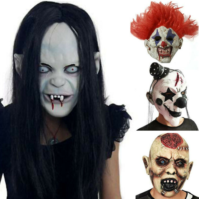 Mask Clown Scary Halloween Costume Latex Party Horror Cosplay Evil Creepy Dress