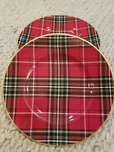 222-Fifth-Tartan-WEXFORD-PLAID-RED-8-5-8-034-Holiday-Salad-Plates-Set-of-4-NEW