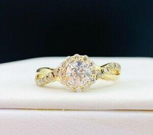 14K Yellow Gold GSI Certified 1.11ctw Diamond Halo Engagement Ring F422