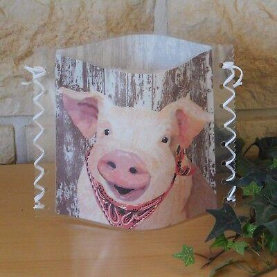Tischlicht//Windlicht Schwein//Schweinekopf fröhliches Ferkel